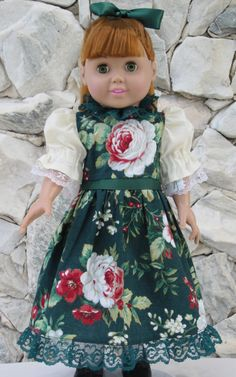 """Green floral Christmas dress for an 18"""" doll - pinned by pin4etsy.com"""