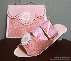 Paper shoe with chocolates and purse card