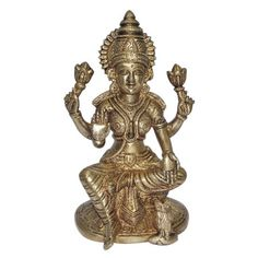 Goddess Laxmi Brass Sculpture Religious Figurines from India