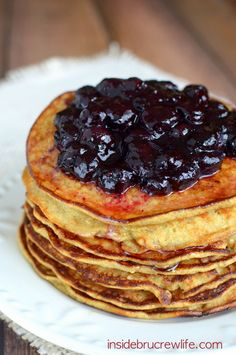 Skinny Banana Oatmeal Pancakes - a lighter breakfast option that tastes delicious and is full of protein