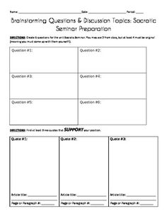Awesome printables for Socratic Seminars! FREE!