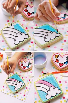 Create your own Paint by Party Cookies for any party theme! Rainbow cookies are painted at a Rainbow Party using heart shaped paint palette cookies Cookies For Kids, Fancy Cookies, Iced Cookies, Cute Cookies, Royal Icing Cookies, Cupcake Cookies, Cupcakes, Rainbow Sugar Cookies, Cookie Decorating Party
