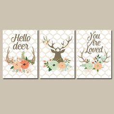 Deer Flowers Wall Art CANVAS or Prints Nursery Hello by TRMdesign