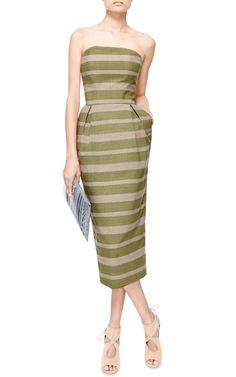 Dalila Striped Woven-Cotton Dress by Stella Jean - Moda Operandi