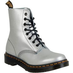 Dr. Martens Pascal Alumix Women's Combat Boot F Boot ($115) ❤ liked on Polyvore featuring shoes, boots, silver, combat booties, silver boots, dr martens shoes, combat boots and dr martens footwear