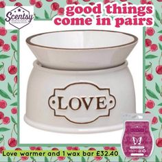Love warmer and a bar of your choice just £32.40! #leannesmellsthescent #flamelessfragrance #august #love