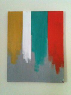 DIY canvas art. What a great way to pull colors together in a room.