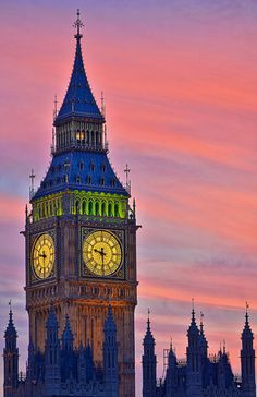 Big Ben at Sunset, London, UK.  Maybe if I stare long enough, I'll see Peter Pan and the Darling children fly by! :')