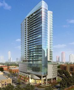 The owner of Uptown Park, Houston's favorite Europe-in-a-parking-lot shopping center, plans to add a sleek dash of density to the collection of Building Front, Glass Building, Mix Use Building, Building Concept, High Rise Building, Building Facade, Facade Architecture, Residential Architecture, Contemporary Architecture