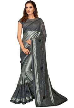 Shop grey crepe,net deisgner partywear saree , freeshipping all over the world , Item code New Saree Designs, Types Of Textiles, Quality Lingerie, Net Saree, Latest Sarees, Ethnic Dress, Fancy Sarees, Indian Attire, Indian Ethnic