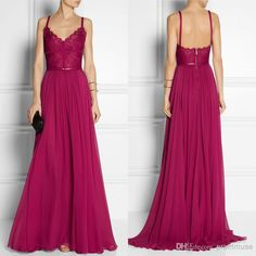 Wholesale Evening Dresses - Buy Vintage Grape A Line Spaghetti Straps Sweep Train Lace Waist Chiffon Evening Prom Dress 2014 Elie Saab Dress EM00589, $90.06 | DHgate