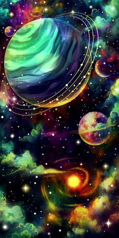 Planets Wallpaper, Wallpaper Space, Colorful Wallpaper, Screen Wallpaper, Wallpaper Backgrounds, Girl Wallpaper, Trippy Wallpaper, Phone Backgrounds, Fantasy Kunst