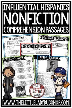 Hispanic Heritage Month Nonfiction Reading Comprehension Passages. These reading passages are wonderful for your students to study these famous individuals including Cesar Chavez, Frida, Roberto Clemente and more . This reading packet is perfect for students in 3rd grade, 4th grade, 5th grade and home school classroom. #hispanicheritagemonth #latinresearch #readingcomprehension #readingpassages #hispanicheritaheirtagemonthbulletin