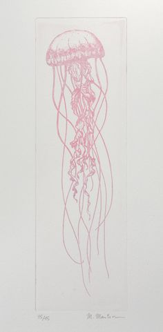 Original etching Pink Jellyfish Délicieuse by estampes on Etsy
