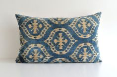 Ikat Silk Velvet Pillow  15x24 Blue Ivory Modern by pillowme, $65.00