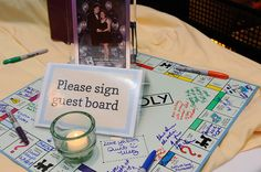 "Monopoly game guestbook - ""Please sign our guest board"" HA!"