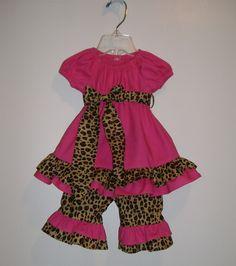Ruffled Peasant Dress and Pant Set Hot Pink by KadeesKidsKlothes, $35.99
