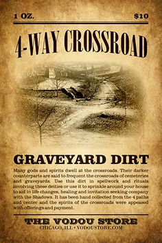 Crossroad Graveyard Dirt : The Vodou Store Hoodoo Spells, Magick Spells, Witchcraft, Wiccan Spell Book, Papa Legba, Voodoo Hoodoo, Modern Witch, Book Of Shadows, The Conjuring