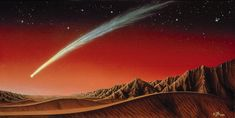 This illustration of a bright comet over Mars was created by artist Kim Poor. - A close encounter between Mars and Comet C/2013 A1 (Siding Spring) in 2014 is creating both opportunity and anxiety in scientific circles.