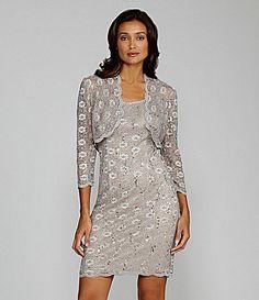 "New mother of the groom dress!  Color is ""stone"".    Alex Evenings SequinLace Bolero Jacket Dress #Dillards"