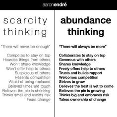 Do you tend to think in terms of abundance or of scarcity? Abundance Quotes, Relationship Coach, Mindset Quotes, Success Quotes, Jealousy, Law Of Attraction, Wise Words, Affirmations, Things To Think About