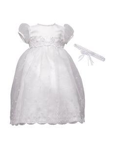 Lauren Madison Christening Baptism Organza Over Bridal Satin Dress Gown | Stage Stores