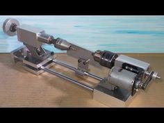 Homemade Wood Mini Lathe DIY Dynamic Tailstock Headstock Chucks Axis Rou...