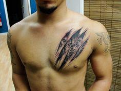 chest tattoo rip ripping through skin lion wolf tiger - Heather Cordes - Chest Tattoo Wolf, Small Chest Tattoos, Tribal Wolf Tattoo, Wolf Tattoo Design, Tribal Tattoos, Chest Tattoos For Guys, Wolf Sleeve, Wolf Tattoo Sleeve, Sleeve Tattoos