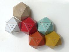 Icosahedron salt shaker - ceramic handmade ($45, cork stopper)