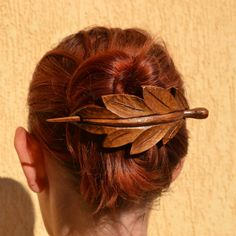 This Hair Accessory is hand carved by Ivaylo Zlatev  this barrette is made from cherry wood. It measures 9.8cm/3.9in long by 5cm/2in wide. measures on