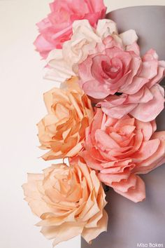 Make roses according to the instructions provided on the Martha Stewart Website. (If you prefer, you may make the roses on skewers instead o...