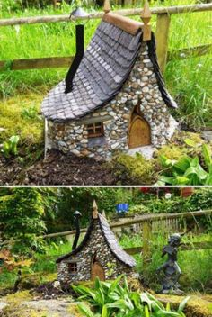 Miniature houses are currently very popular as decoration as well as DIY activity. There are few important things that you keep in mind while making DIY stone houses. Fairy Garden Houses, Diy Garden, Gnome Garden, Dream Garden, Garden Projects, Garden Art, Garden Design, Miniature Fairy Gardens, Miniature Houses