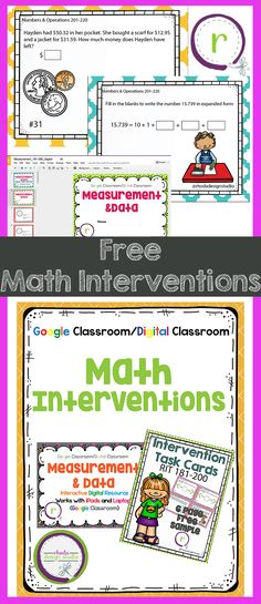 FREE Classroom Math Intervention Task Cards. Great for practice, review and test prep. Based on NWEA RIT Bands. Available in paper and digital format.