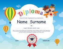Kindergarten Kid Diploma With Scenery Background Stock Image