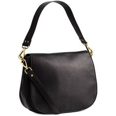 H&M Leather messenger bag (2.230 UYU) ❤ liked on Polyvore featuring bags, messenger bags, h&m, black, zip messenger bag, leather courier bag, flap bag, magnetic bag and real leather bags