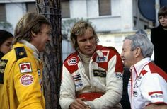 Ronnie Peterson (Lotus), James Hunt and Teddy Mayer (McLaren). 7 May James Hunt, Classy People, F1 Drivers, Car And Driver, Road Racing, Beautiful Boys, Monaco, Race Cars, Champions