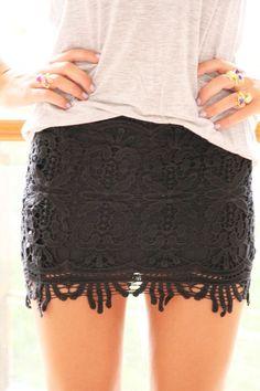 Black Lace Mini Skirt.