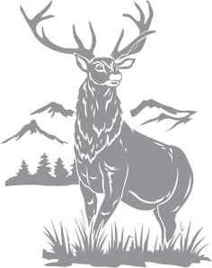 Glass etching stencil of Stag and Mountain Scene. In category: North American Mammals, Trees, Western