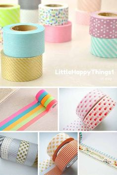 Adorable washi tapes make your desk & planner much more fun. Click through to discover 5 super affordable washi tape stores on Etsy - you will love them! Do you use washi tapes? Craft Projects For Adults, Diy Craft Projects, Diy Crafts To Sell, Easy Crafts, Craft Ideas, Decor Ideas, Decor Crafts, Washi Tape Wall, Washi Tape Crafts