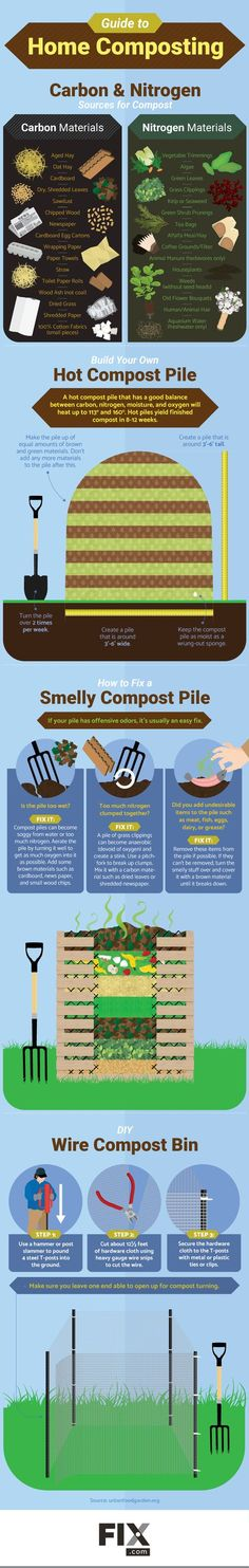 Gardening Composting The Lazy Composter's Guide to Making Awesome Compost - How to make compost and composting tips. Learn what goes into the compost pile, and how to make compost. Compost Infographics Tips Composting 101, Compost Soil, Garden Compost, Diy Compost Bin, Garden Soil, How To Make Compost, Bokashi, Organic Gardening Tips, Edible Garden