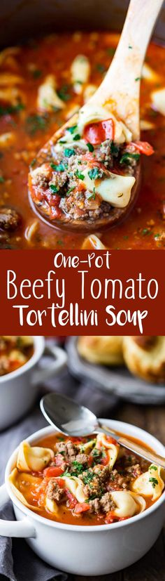 One Pot Beefy Tomato Tortellini Soup is rich, hearty, delicious, and the best soup you will make this year. I can't even explain how amazing this soup is.  #WasteNoPaste #ad @huntschef