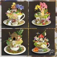 A delightful tiny place for tiny beings. Place this fairy garden in your home and all kinds of magical critters will com Garden Crafts, Diy Crafts, Garden Ideas, Acorn House, Cup And Saucer Crafts, Floating Tea Cup, Teacup Crafts, Diy Bird Feeder, Mini Fairy Garden