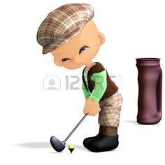 golfista de dibujos animados lindo y divertido. Representación 3D