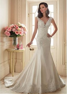 Graceful Tulle & Satin V-neck Neckline Mermaid Wedding Dresses with Beaded Lace Appliques