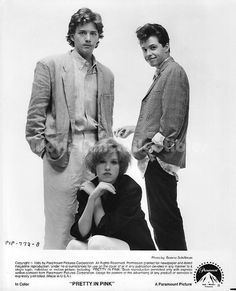 Movie Still / Publicity Photo / Press Kit Promo Title: Pretty in Pink Star(s): Jon Cryer, Andrew McCarthy, Molly Ringwald Genuine vintage Black and White glossy photograph Approximate size: x ( Pink Movies, 80s Movies, She Movie, Movie Tv, Jon Cryer, Andrew Mccarthy, Molly Ringwald, Brat Pack, Image Film