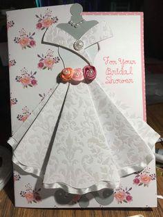 Bridal Shower Cards Handmade Wedding Dresses 64 Ideas For 2019 Wedding Cards Handmade, Handmade Birthday Cards, Origami Dress, Bridal Shower Cards, Dress Card, Shaped Cards, Folded Cards, Diy Cards, Scrapbook Cards