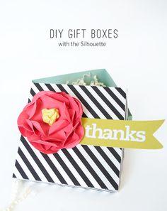 DIY-Gift-Box :: Created-using-the-Silhouette #giftidea #giftbox #diy #stripes