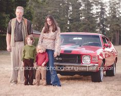 """I would LOVE to do a shoot with an awesome or older car! """"This is her spoof of a shoot, but it's still a cute idea for those with the cool cars! Old Truck Photography, Cute Photography, Portrait Photography, Winter Family Photos, Family Pics, Family Picture Poses, Family Issues, My Photos, Couple Photos"""