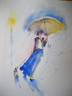 Explore anelest's photos on Flickr. anelest has uploaded 213 photos to Flickr. Umbrella Painting, Rain Painting, Umbrella Art, Gouache Painting, Painting & Drawing, Watercolor Artists, Watercolor And Ink, Watercolor Paintings, Watercolours