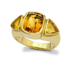 This stunning ring from Kiki's Gyspy collection features a central cushion cut citrine offset by two matching citrine gems - a very sophisticated choice for everyday wear.
